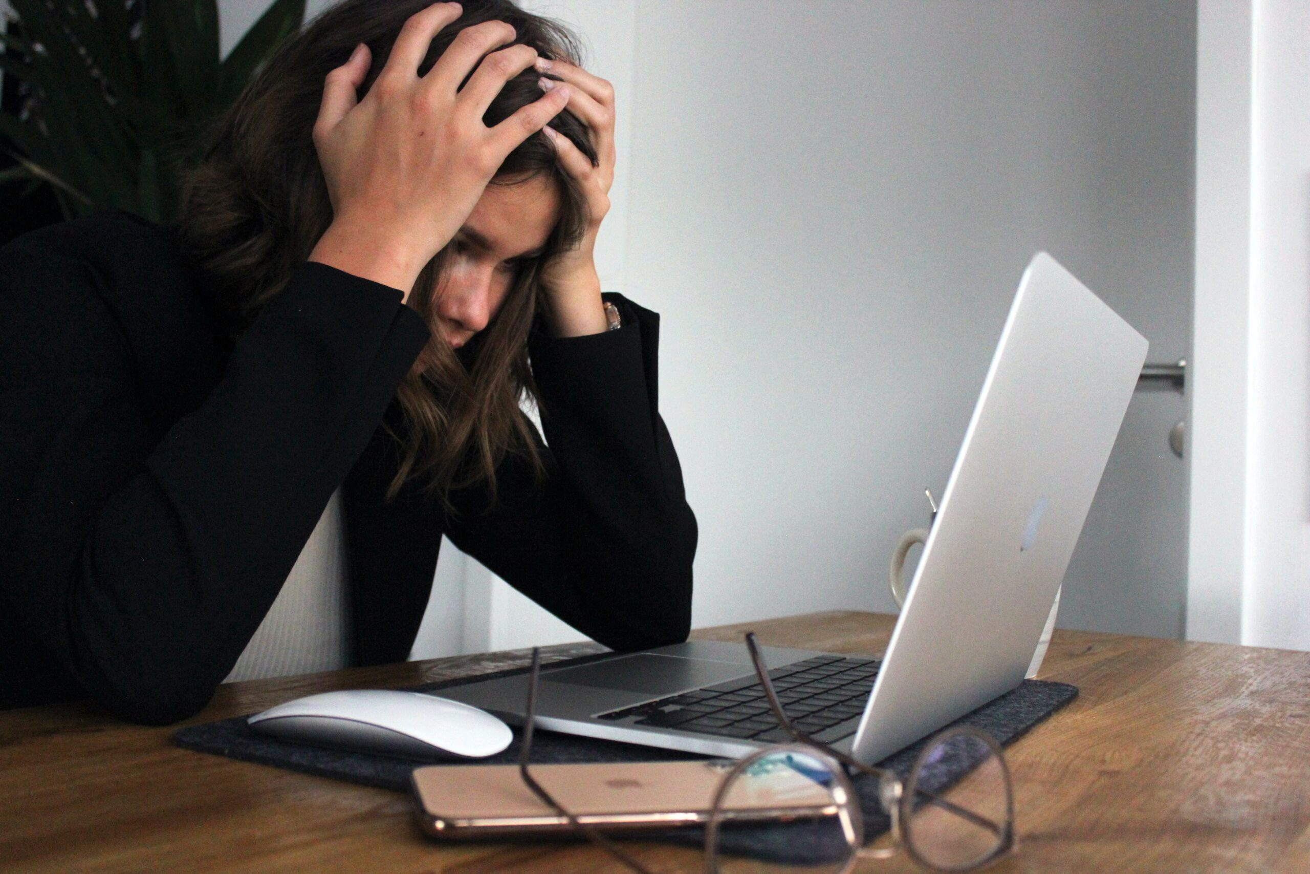 frustrated laptop user